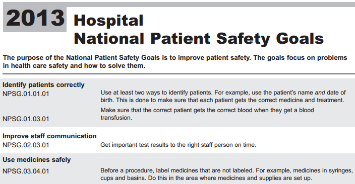 Hospital - National Patient Safety Goals