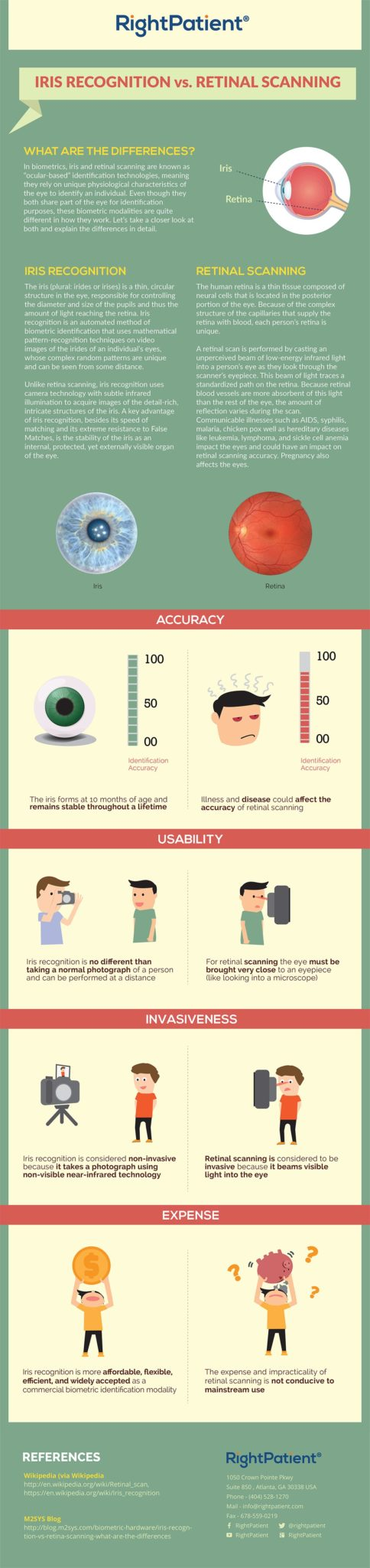 what are the differences between iris recognition and retinal scanning?